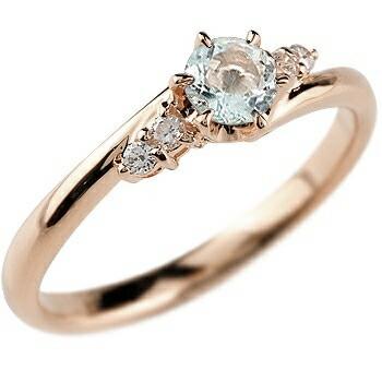 アクアマリン ダイヤモンド リング 指輪 一粒 大粒 ピンクゴールドK18 ストレート エンゲージリング 婚約指輪 18金