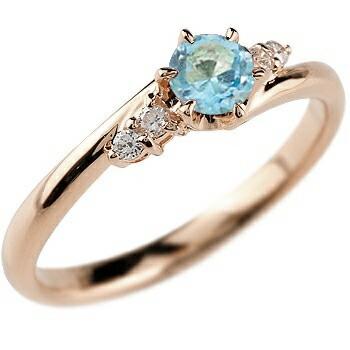 ブルートパーズ ダイヤモンド リング 指輪 一粒 大粒 ピンクゴールドK18 ストレート エンゲージリング 婚約指輪 18金