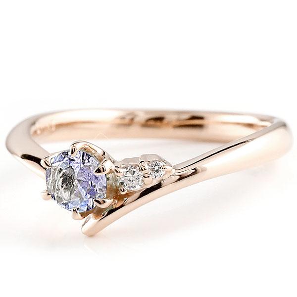 婚約指輪 エンゲージリング タンザナイト  ピンクゴールドリング ダイヤモンド 指輪 ピンキーリング 一粒 大粒 k18 レディース 12月誕生石
