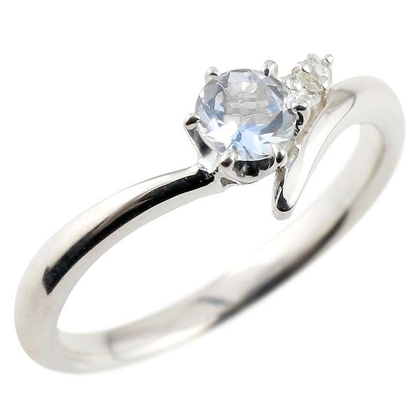 婚約指輪 エンゲージリング ブルームーンストーン ホワイトゴールドリング ダイヤモンド 指輪 ピンキーリング 一粒 大粒 k18 レディース 6月誕生石