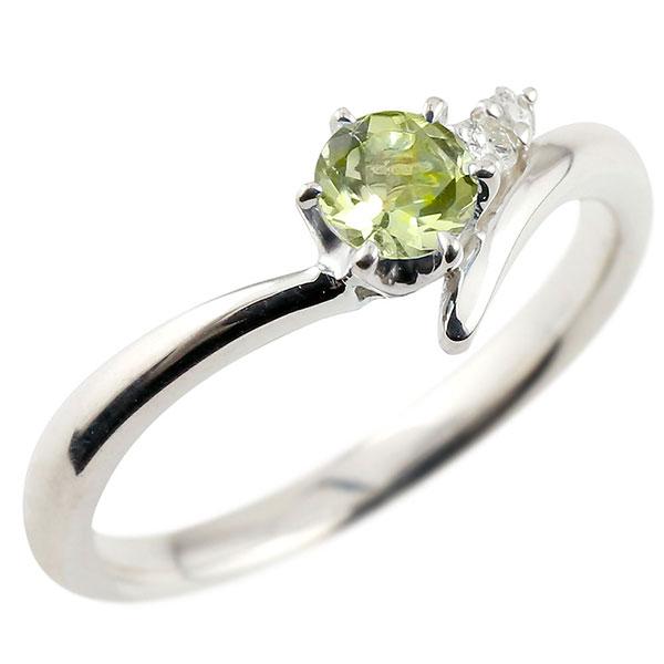婚約指輪 エンゲージリング ペリドット  プラチナリング ダイヤモンド 指輪 ピンキーリング 一粒 大粒 pt900 レディース 8月誕生石