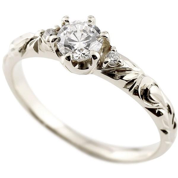 ハワイアンジュエリー 一粒ダイヤモンド ホワイトゴールド リング 指輪