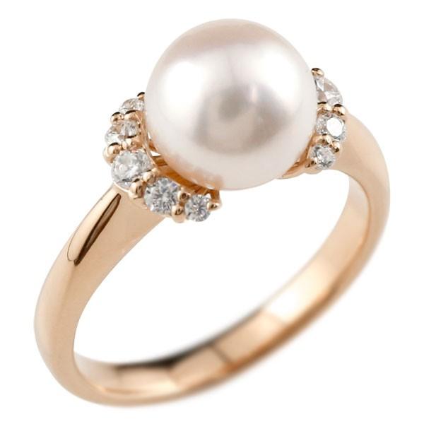 ピンキーリング 真珠 パール ピンクゴールドk18 リング  指輪