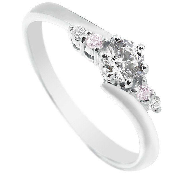 鑑定書付き SIクラス ハードプラチナ950 ダイヤモンド 婚約指輪 エンゲージリング リング 一粒 大粒 ダイヤ ピンクダイヤモンド ストレート