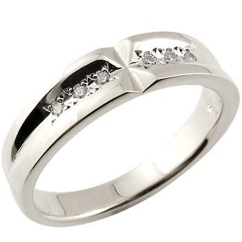 【送料無料】エンゲージリング:ダイヤモンド:リング:ホワイトゴールドk18:婚約指輪:結婚指輪:クロス:ダイヤモンド0.06ct:k18wg:指輪【工房直販】