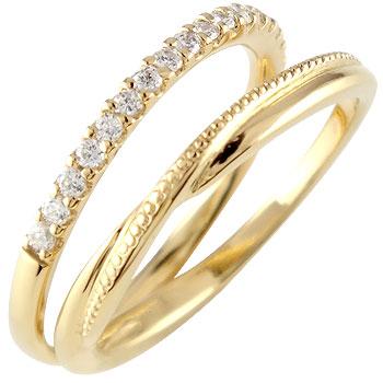 婚約指輪 エンゲージリング ダイヤモンド ハーフエタニティ 指輪 イエローゴールドk18 ミル打ち