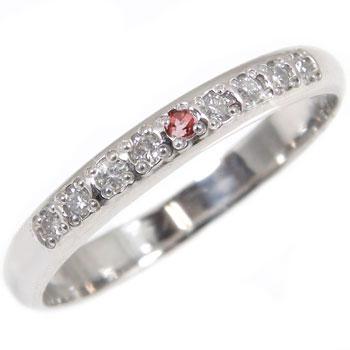 婚約指輪 エンゲージリング ダイヤモンド ガーネット ハーフエタニティ 指輪 プラチナ900 1月誕生石