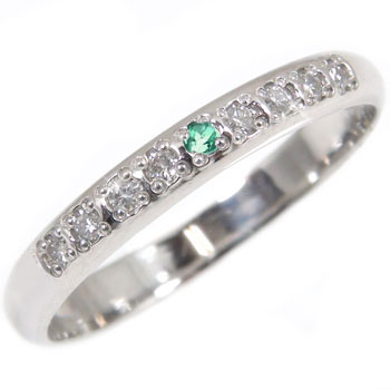 婚約指輪 プラチナ エンゲージリング ダイヤモンド エメラルド ハーフエタニティ 指輪  5月誕生石