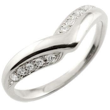 V字 婚約指輪 エンゲージリング ダイヤモンド ホワイトゴールドk18