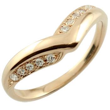 V字 婚約指輪 エンゲージリング ダイヤモンド ピンクゴールドk18