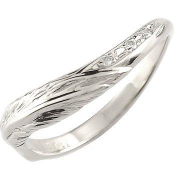 V字 婚約指輪 エンゲージリング ダイヤモンド フェザー ホワイトゴールドk18