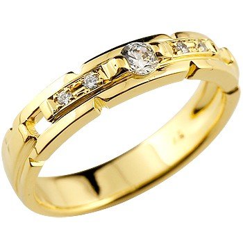 ダイヤモンド リング イエローゴールドk18 婚約指輪 エンゲージリング