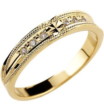 クロス リング ダイヤモンド 婚約指輪 エンゲージリング イエローゴールドk18