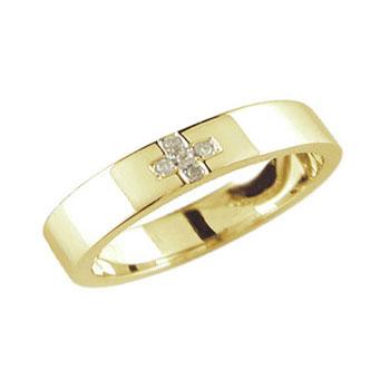 クロス ダイヤモンド リング エンゲージリング 婚約指輪 イエローゴールドk18