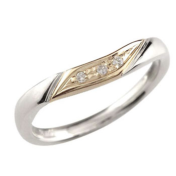 ダイヤモンド プラチナ リング イエローゴールドk18 エンゲージリング 婚約指輪