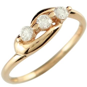 ダイヤモンド 婚約指輪 エンゲージリング ピンクゴールドk18