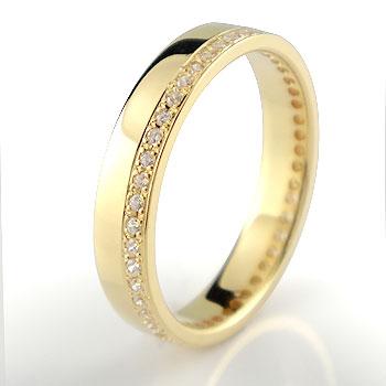 フルエタニティリング ダイヤモンド 指輪 イエローゴールドk18 幅広