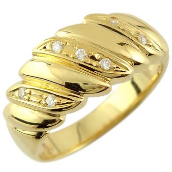 ダイヤモンド リング 幅広 指輪 イエローゴールドk18