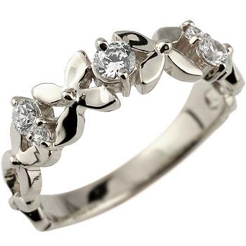 ダイヤモンド プラチナ リング フラワー 花 ピンキーリング 指輪 ダイヤ