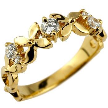 ダイヤモンド リング フラワー 花 ピンキーリング 指輪 ダイヤ イエローゴールドk18