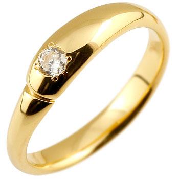 ダイヤモンド リング 指輪 ダイヤモンドリング ダイヤ ピンキーリング イエローゴールドk18 シンプル 一粒 レディース