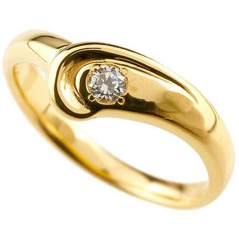 ダイヤモンド リング 指輪 ダイヤリング ピンキーリング イエローゴールドk18