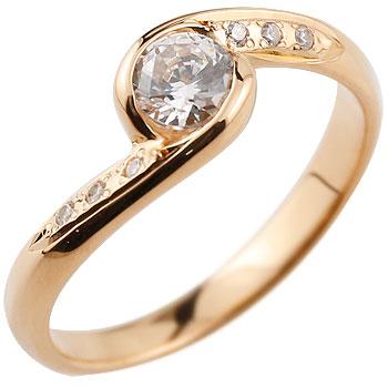 ダイヤモンド リング ダイヤ 大粒 指輪 ダイヤモンドリング ピンクゴールドk18