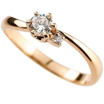 鑑定書付き ダイヤモンド リング 指輪 ピンキーリング ピンクゴールドk18
