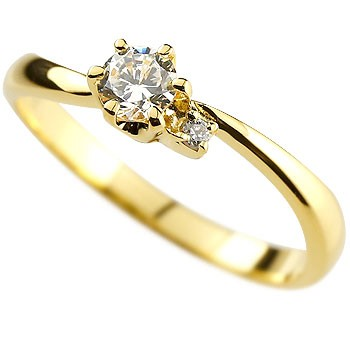 鑑定書付き ダイヤモンド リング 指輪 ピンキーリング イエローゴールドk18
