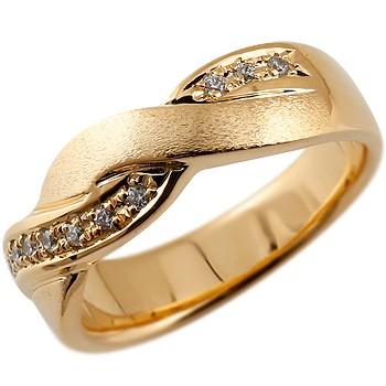 ダイヤモンド リング ダイヤ 指輪 ダイヤモンドリング 幅広 つや消し ピンクゴールドk18