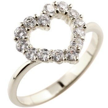 オープンハート パヴェリング ダイヤモンド 指輪 ピンキーリング ホワイトゴールドk18 ダイヤ ダイヤモンドリングレディース