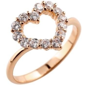 オープンハート パヴェリング ダイヤモンド 指輪 ピンキーリング ピンクゴールドk18 ダイヤ ダイヤモンドリングレディース
