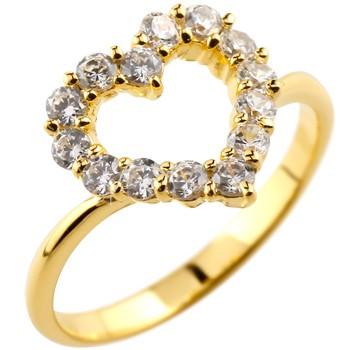 オープンハート パヴェリング ダイヤモンド 指輪 ピンキーリング イエローゴールドk18 ダイヤ ダイヤモンドリングレディース
