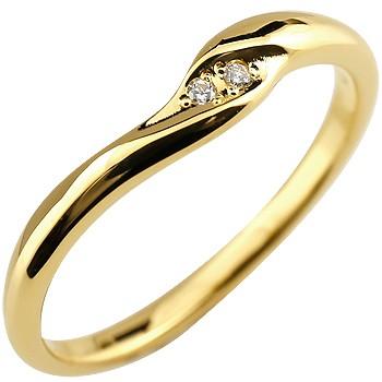 ダイヤモンドリング 指輪 ピンキーリング ダイヤ シンプル イエローゴールドk18 レディース