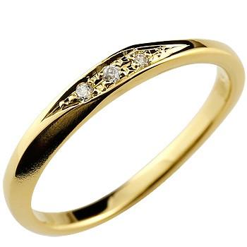 ダイヤモンドリング 指輪 ピンキーリング イエローゴールドk18 つや消し シンプル