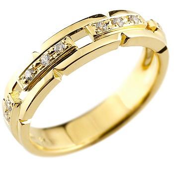 婚約指輪 エンゲージリング ダイヤモンド リング 幅広 指輪 ピンキーリング ダイヤ ダイヤモンドリング イエローゴールドk18 レディース