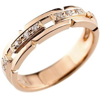 婚約指輪 エンゲージリング ダイヤモンド リング 幅広 指輪 ピンキーリング ダイヤ ダイヤモンドリング ピンクゴールドk18 レディース