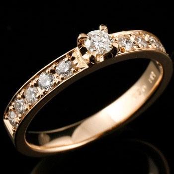 【送料無料】ダイヤモンドリング0.50ctピンクゴールドk18指輪 小指用にも【工房直販】