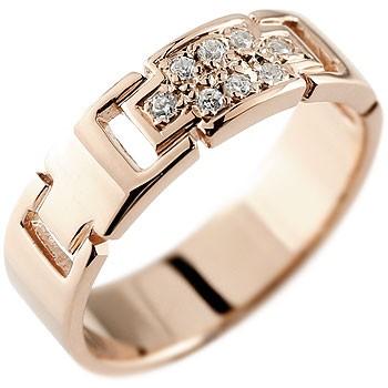 クロス ダイヤモンド リング 指輪 ダイヤモンドリング ピンキーリング ピンクゴールドk18 ダイヤ 幅広指輪 十字架 18金 レディース