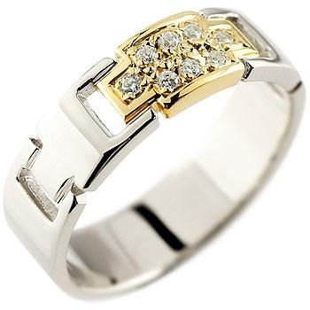 クロス ダイヤモンド リング 指輪 プラチナ イエローゴールドk18 コンビリング ダイヤモンドリング ピンキーリング ダイヤ 幅広指輪 十字架 レディース