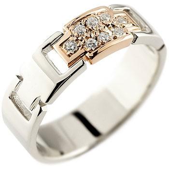 クロス ダイヤモンド リング 指輪 プラチナ ピンクゴールドk18 コンビリング ダイヤモンドリング ピンキーリング ダイヤ 幅広指輪 十字架 レディース