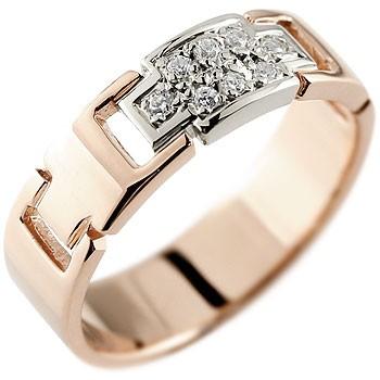クロス ダイヤモンド リング 指輪 ピンクゴールドk18 プラチナ コンビリング ダイヤモンドリング ピンキーリング ダイヤ 幅広指輪 十字架 レディース