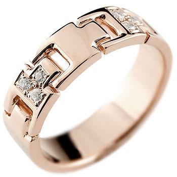 ダイヤモンド リング 指輪 ダイヤモンドリング ピンキーリング ピンクゴールドk18 ダイヤ 幅広指輪 18金 レディース