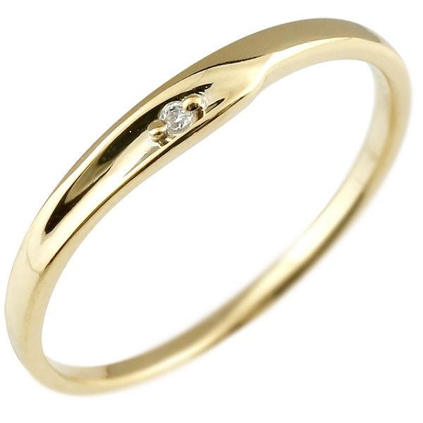 ダイヤモンド ピンキーリング イエローゴールドk18 ダイヤ 18金 極細 華奢 指輪