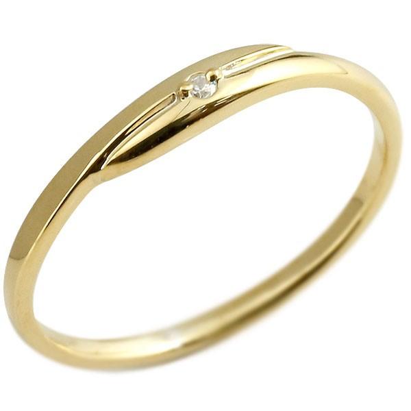 ダイヤモンド ピンキーリング イエローゴールドk18 ダイヤ 18金 極細 華奢 スパイラル 指輪