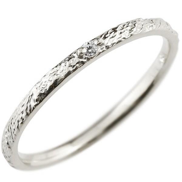 ダイヤモンド プラチナリング ピンキーリング ダイヤ pt900 極細 華奢 アンティーク ストレート 指輪