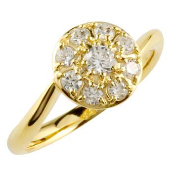 ダイヤモンドリング ダイヤ 指輪 取り巻き イエローゴールドk18