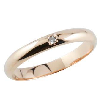 ダイヤモンドリング ピンキーリング ピンクゴールドk18 指輪 甲丸リング ダイヤ 18金