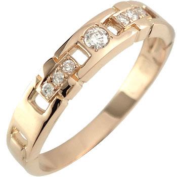 【送料無料】ダイヤモンドリング:ピンクゴールドK18:指輪:ダイヤモンド0.11ct:4月の誕生石:K18PG:特別価格【工房直販】