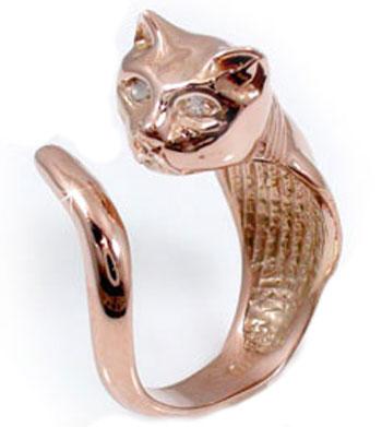 ダイヤモンドリング:ピンキーリング:猫:ピンクゴールドK18:アニマルモチーフ:K18PG:指輪